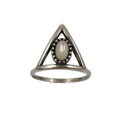 Anel Triângulo com Pedra Madrepérola em Prata 925