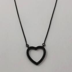 Gargantilha Coração Ródio Negro em Prata 925