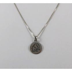 Pingente Medalhinha com Elefante em Prata 925