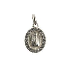 Pingente Medalha Nossa Senhora com Zircônias em Prata 925