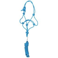 Cabresto para Cavalo Nylon Azul Turquesa 7 nós c/ Cabo Boots Horse 3839