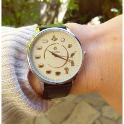 Relógio Ciclo do Café (Pulseira Preta) - LOJACAFENOBRASIL