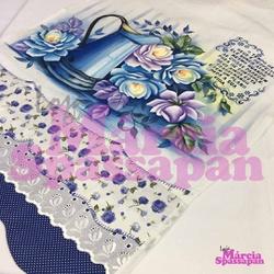 Pano de Copa Jarro Azul com Rosas - PCJAR - Loja da Márcia Spassapan | Tudo para Artesanato