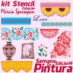 Kit Stencil Coleção Márcia Spassapan | Semana Da P... - Loja da Márcia Spassapan | Tudo para Artesanato