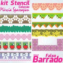 Kit Stencil Coleção Márcia Spassapan | Falso Barra... - Loja da Márcia Spassapan | Tudo para Artesanato