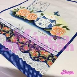 Pano de Copa Rosas com Bule em Acripuff - PCRBA - Loja da Márcia Spassapan | Tudo para Artesanato