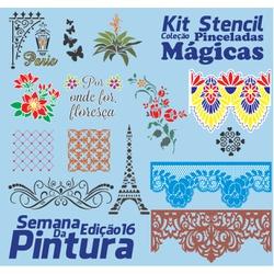 Kit Stencil Coleção Pinceladas Mágicas | Semana da... - Loja da Márcia Spassapan | Tudo para Artesanato