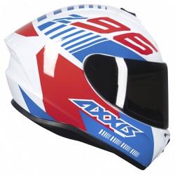 CAPACETE AXXIS DRAKEN Z96 WHITE RED BLUE - 0402 - HELMET MOTO STORE
