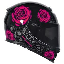 CAPACETE AXXIS EAGLE EVO FLOWERS GLOSS BLACK/PINK ... - HELMET MOTO STORE