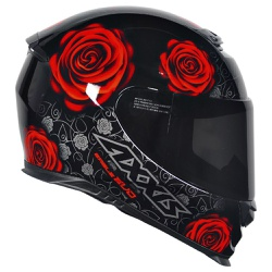 CAPACETE AXXIS EAGLE EVO FLOWERS GLOSS BLACK/RED -... - HELMET MOTO STORE