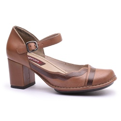 Sapato Galeany Alto Em Couro Amêndoa J.Gean - AR01... - J.Gean