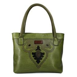 Bolsa Artesanal Em Couro E Casco Verde J.Gean - M... - J.Gean