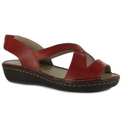 Sandália Jade Em Couro Rouge J.Gean - EE0016-EE001... - J.Gean