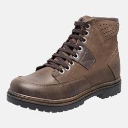 Bota Coturno em Couro Mega Boots 6029 Chumbo-Cafe - Mega Boots