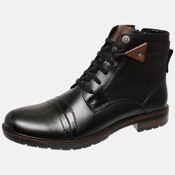 Bota Urbana em Couro Mega Boots Preto-Chocolate 50002