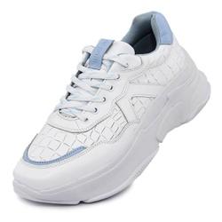 Tênis Sneaker Feminino em Couro Branco-Azul