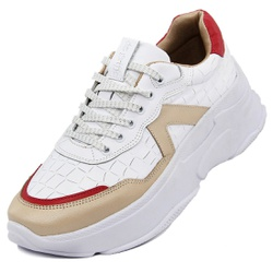 Tênis Sneaker Feminino em Couro Branco-Perola