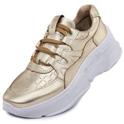 Tênis Sneaker Feminino em Couro Gold