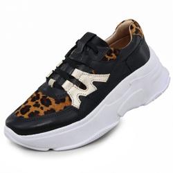 Tênis Sneaker Feminino em Couro 2002 Preto-Onca-Go... - Mega Boots