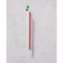 Kit canudo silicone   canudo rosa + escova de limp... - MR VEGGY