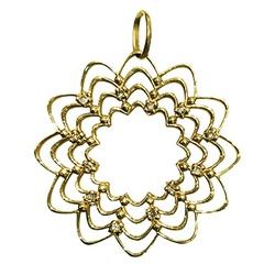 Pingente Mandala Cravejada em ouro 18k - 15 - LOJAODASALIANCAS