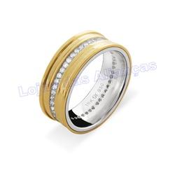 Aliança em Ouro 18K 750 e Prata 950 - AL1004Z.3 - LOJAODASALIANCAS