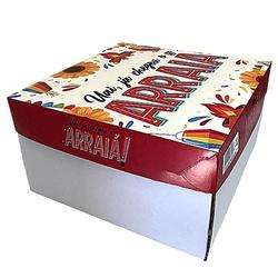 Caixa Bolo/ Festa na Caixa 27x27x15cm Arraiá loja embalagens sabrina