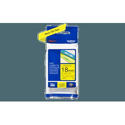 Fita laminada tze-641 18mm preto/amarelo - Telcabos Loja Online