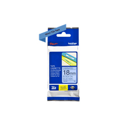 Fita laminada tze-541 18mm preto/azul - Telcabos Loja Online