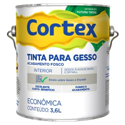 Tinta para Gesso Fosca Cortex 3,6L Branco - Futura - Marquezim Tintas