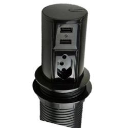 Mini Totem de Mesa Preto 1Tom 2P+T + 2USB QM 12200... - Meta Materiais Elétricos Ltda