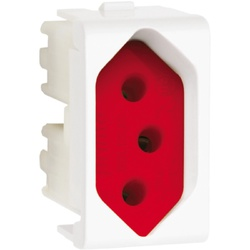 Tomada 2P+T 20A Fundo Vermelho 1M Branco PRM04741-... - Meta Materiais Elétricos Ltda