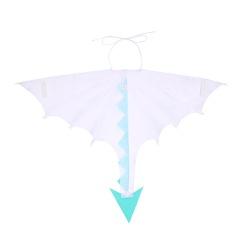Fantasia asa dragão branco e azul