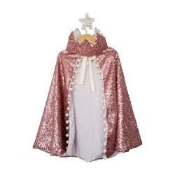 Fantasia Capa e coroa Rosa brilho