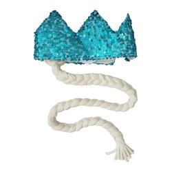 Coroa com trança Azul turquesa e trança off white - Minibossa