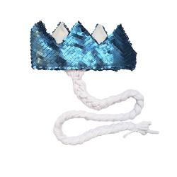 Coroa com trança Azul fosco e branco