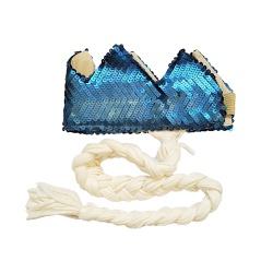 Coroa com trança Azul fosco e off white - Minibossa