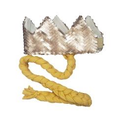 Coroa com trança Nude fosco e amarelo - Minibossa