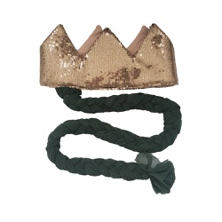 Coroa com trança Nude brilho e verde - Minibossa
