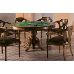 Conjunto Mesa de Jogos (1,40m) + 6 Cadeiras Com Br... - MOVEIS ANTIGUS