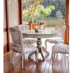 Conjunto Mesa de Jantar Elegance Redonda com 4 Cad... - MOVEIS ANTIGUS
