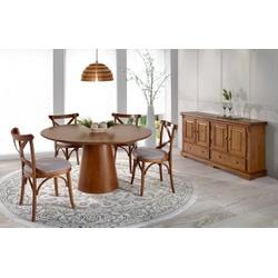 Sala de jantar com Mesa Redonda 1,56m, 4 Cadeiras ... - MOVEIS ANTIGUS
