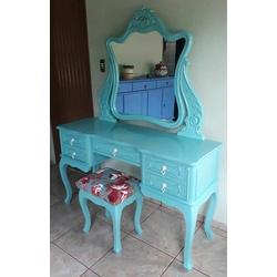 Penteadeira Provençal Azul Madeira Maciça Com Banq... - MOVEIS ANTIGUS