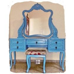 Penteadeira Azul Provençal Madeira Maciça Com Banq... - MOVEIS ANTIGUS
