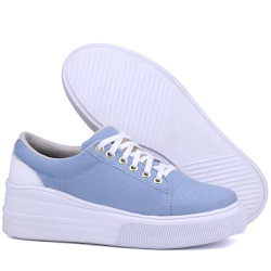 Tênis Feminino Casual Sola Alta Moderno Jeans - 11... - Mr. Gutt