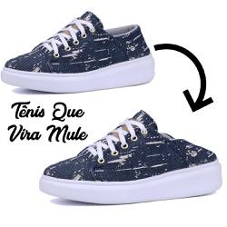 Tênis Casual Que Vira Mule Jeans Plataforma - 1148... - Mr. Gutt