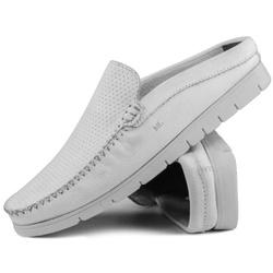 Mule Premium em Couro Floater Diamante Branco Capr... - MRLIGHT CALCADOS