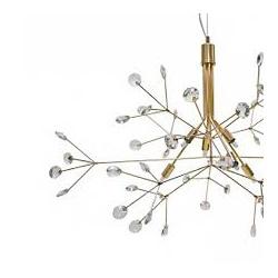 Lustre Dourado C/ Cristais Transparentes 6 Lâmpada... - Nicolucci