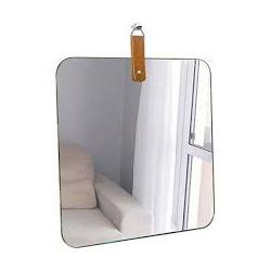 Espelho Slim quadrado 35cm alça caramelo - Nicolucci