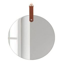 Espelho Redondo Slim com alça Caramelo 55 cm - Nicolucci